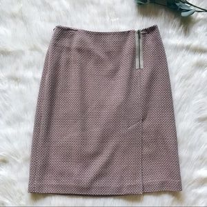 Ann Taylor Pink and Tan Wool-Blend Pencil Skirt